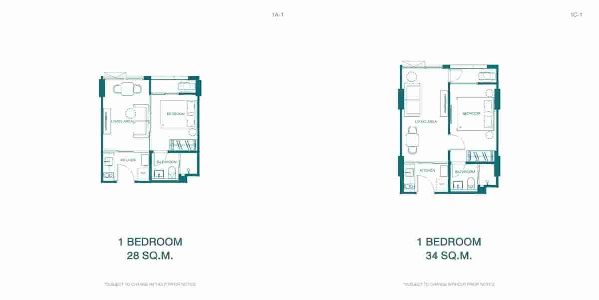 Quintara Kynett Ratchada 1 Bedroom Floor Plan