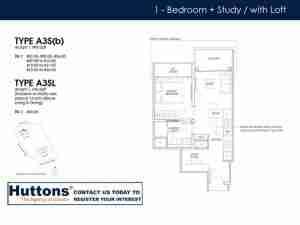 Irwell Hill Residences Floor plan 1 bedroom + Study Type A3